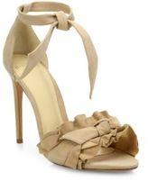 Alexandre Birman Lupita Ruffled Suede Ankle-Strap Sandals