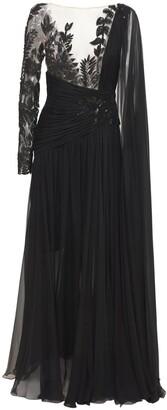 ZUHAIR MURAD Beaded Chiffon Long Dress W/Side Drape