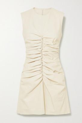 16Arlington Errol Ruched Leather Mini Dress - White