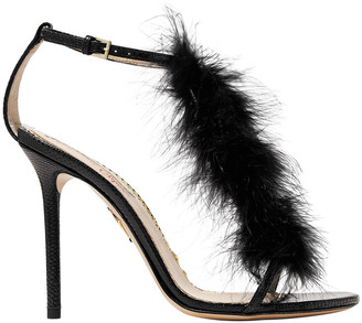 Charlotte Olympia Provocateur Feather-trimmed Snake Sandals