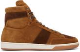 Saint Laurent Tan Suede Court Classic High-Top Sneakers