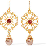 Ben-Amun Gold-Plated Stone And Faux Pearl Earrings
