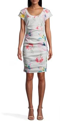 Nicole Miller La Fleur Stretch Linen Scoop Neck Dress