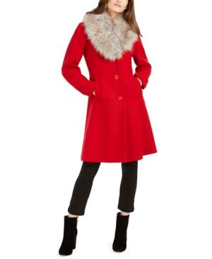 Kate Spade Faux-Fur-Trim Coat, Created for Macy's