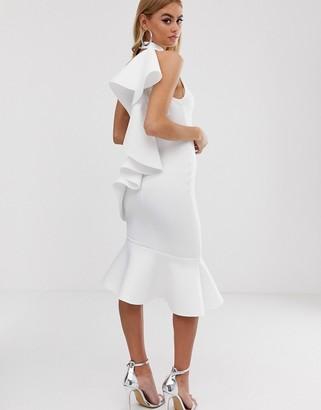 Asos Design DESIGN one shoulder ruffle halter midi dress-White