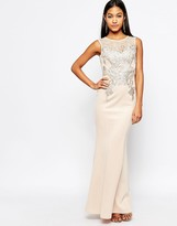 Lipsy Michelle Keegan Loves Foil Lace Applique Maxi Dress