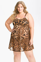 Betsey Johnson Animal Print Mesh Babydoll & Thong (Plus)