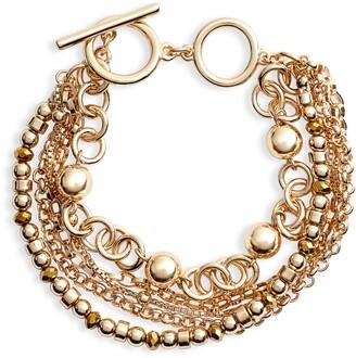 Halogen Beaded Layered Toggle Bracelet