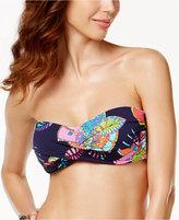 Anne Cole Cactus Floral-Print Twist-Front Bandeau Bikini Top