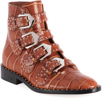 Givenchy Elegant Studded Croco-Print Booties