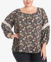 Eyeshadow Trendy Plus Size Floral-Print Lace-Trim Peasant Top