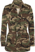 Saint Laurent Appliquéd Camouflage-print Cotton-gabardine Jacket - Army green