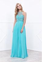 Unique Vintage Aqua Blue Sheer Beaded Halter Top Long Dress