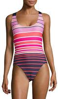 Michael Michael Kors Scoop Neck Stripe One-Piece Swimsuit