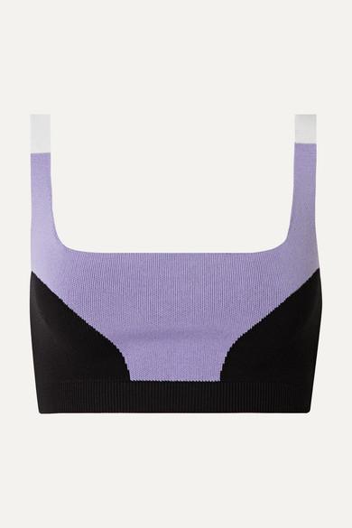 NAGNATA Color-block Technical-knit Stretch-cotton Sports Bra - Lilac