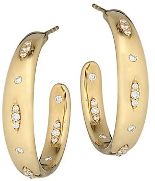 Tamara Comolli Gypsy 18K Yellow Gold & Diamond Pave Large Hoop Earrings