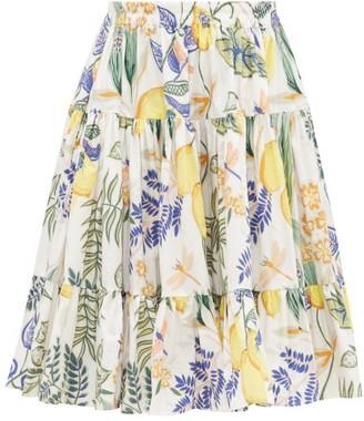 La DoubleJ Love Botanical-print Banded Cotton Midi Skirt - White Print