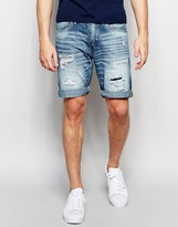 Jack and Jones Light Wash Rip & Repair Denim Shorts