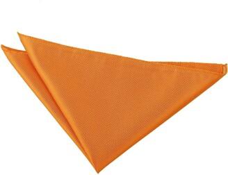DQT Men Plain Solid Check Wedding Formal Casual Groom Page Boy Handkerchief Pocket Square Hanky - Celosia Orange