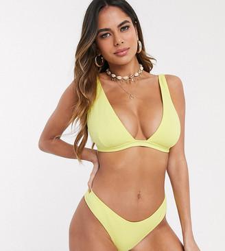 Peek & Beau Fuller Bust Exclusive textured triangle bikini top in lemon D-F