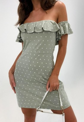 Missguided Sage Polka Dot Bardot Frill Skater Dress