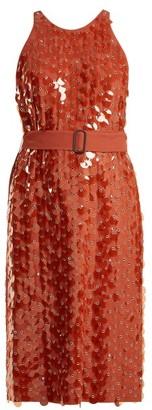 Bottega Veneta Sequin And Eyelet-embellished Crepe Dress - Light Red
