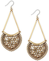 Lucky Brand Gold-Tone Flower and Lace Chandelier Earrings