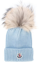 Moncler pom pom knitted hat - kids - Racoon Fur/Virgin Wool - One Size
