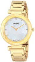 Pulsar Womens Crystal-Accent Gold-Tone Stainless Steel Bracelet Watch PM2080