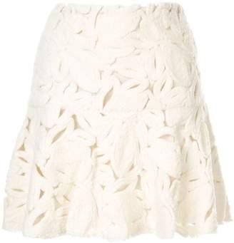 Paule Ka velveteen floral mini skirt