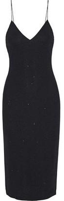 Alice + Olivia Stila Metallic Stretch-crepe Midi Slip Dress