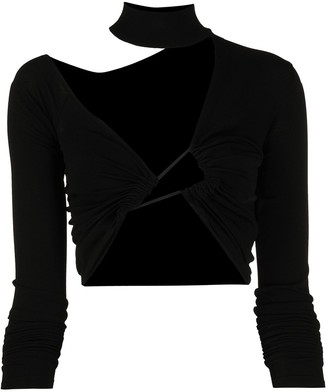 Unravel Project Twisted Front Crop Top