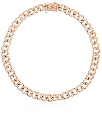 Shay 18kt Rose Gold And Diamond Mini 7 Inch Link Bracelet