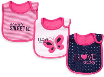 Carter's Navy & Bright Pink 3-Pack Teething Bibs