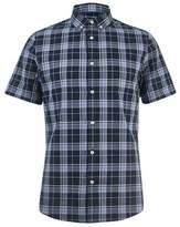 Burton Mens Blue Short Sleeve Check Shirt