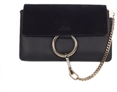 Chloé Faye Small Shoulder Bag in Black Suede and Calfskin