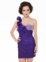 Mac Duggal Homecoming - 6098N Ruched One Shoulder Beaded Mini Dress