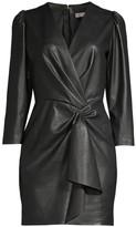 Rebecca Taylor Vegan Leather Wrap Dress