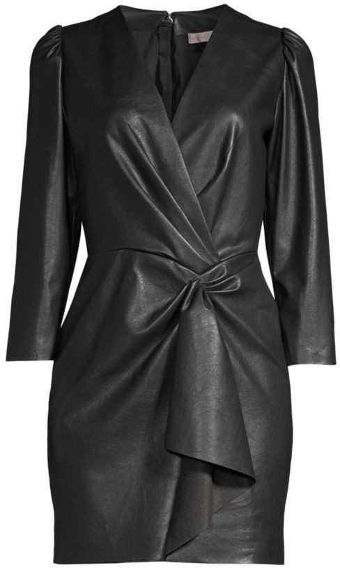 Rebecca Taylor Vegan Leather Wrap Dress