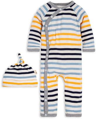 Burt's Bees Baby Boys' Rompers BWX - Yellow Beeswax & Black Stripe Playsuit & Knot Beanie - Infant