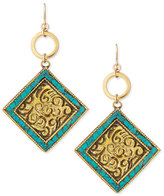 Devon Leigh Turquoise/Brass Medallion Drop Earrings