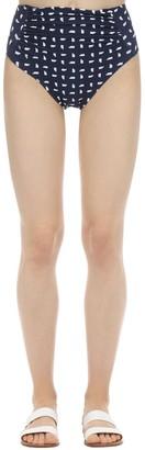 Self-Portrait Printed High Waist Lycra Bikini Bottom