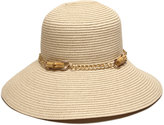 Gottex San Remo Sun Hat w/ Silvertone Bamboo-Chain Band, Natural
