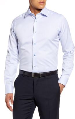 David Donahue Slim Fit Micro Print Dress Shirt