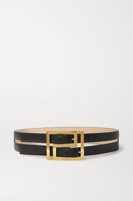 Versace Layered Leather Waist Belt - Black