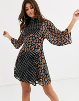 Asos Design DESIGN high neck mini dress in mixed floral and polka dot