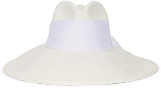 Sensi Long Brim Maxi Band Panama Hat in White Straw & White Band | FWRD