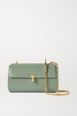 THE VOLON Po Trunk Croc-effect Leather Shoulder Bag - Green
