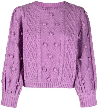 For Love & Lemons Cable-Knit Applique Jumper