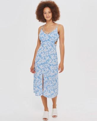 Topshop Cornflower Print Cut Out Slip Dress